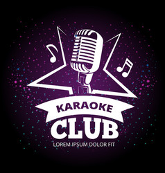 shiny karaoke club label design vector image vector image