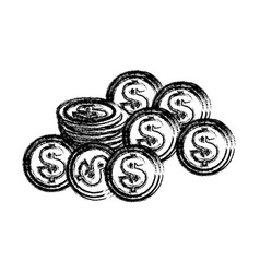 silhouette coins dolar currency vector image
