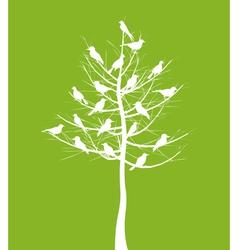 tree of birds vector image vector image