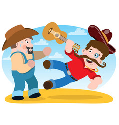 Two men fight men with guitar and a sombrero vector