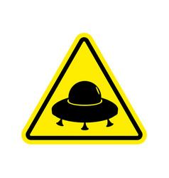 ufo warning sign yellow aliens hazard attention vector image vector image