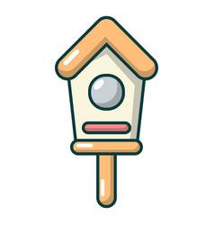 Wooden birdhouse icon cartoon style vector