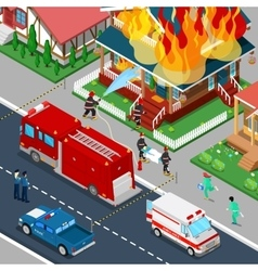 Firefighters extinguish fire in house isometric vector