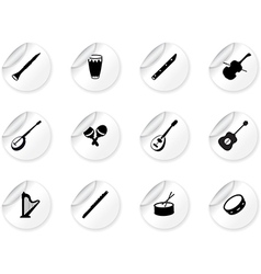 Stickers with musical instrument icons vector
