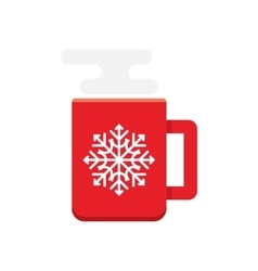 red cup of hot coffee vector image