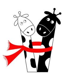 Cute cartoon black white giraffe wearing red scarf vector