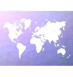 World map silhouette on blue-violet low poly vector image