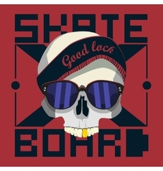 Skull skateboard design work vector