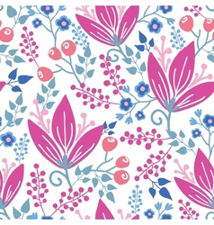 Pink flowers seamless pattern background vector