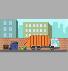 Garbage removal service dustcart flat city vector