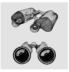Binocular monocular vintage engraved hand drawn vector