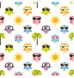 Seamless pattern with owls sun and palm tree vector