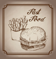 hand drawn burger and french fries fast food vector image