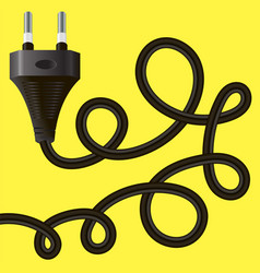 black plug with cable vector image