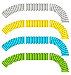 Colored corrugated flexible tubes vector