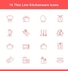 Set of Thin Line Stroke Kitchenware Icon vector image