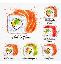 Sushi watercolor rolls vector