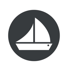 Monochrome round sailing ship icon vector