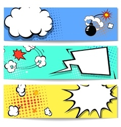 Comic speech bubble web header set with vector