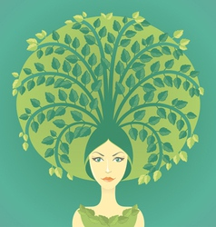 Woman with tree vector