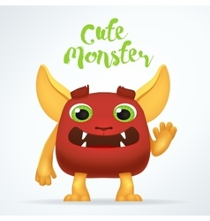 Comic cartoon red creature character with cute vector