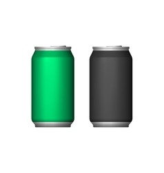 Two aluminum can green black blank metal aluminum vector