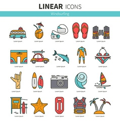 Icon set windsurfing vector