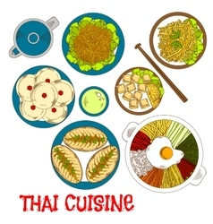 Vegetarian dinner of thai cuisine sketch icon vector