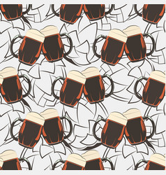 Beer seamless pattern with beer mugs and hops vector