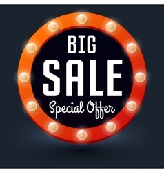 Big Sale with retro glowing lights for business vector image