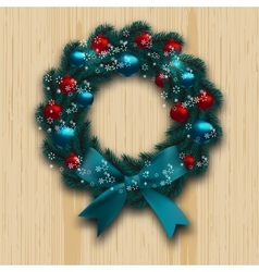 Christmas and new year wreath blue branch of fir vector