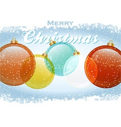 Christmas baubles with text and snow vector image