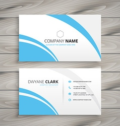 Clean blue wave business card vector