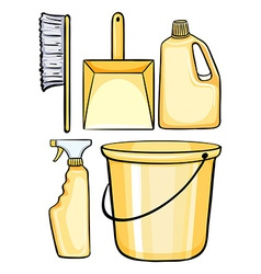 Cleaning equipments in yellow vector image vector image