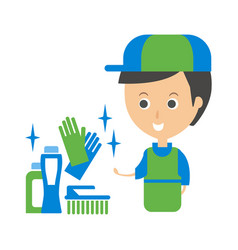 cleanup service worker and household chemistry vector image