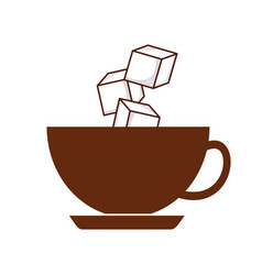 Coffee cup iwith sugar cubes vector