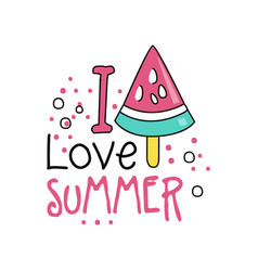 colorful hand drawn label with piece of watermelon vector image
