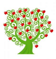 curl tree with the hearts vector image vector image