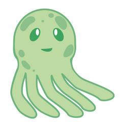 Cute happy jellyfish cartoon character sea animal vector