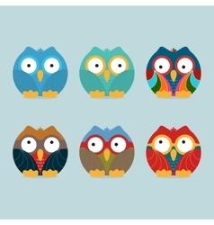Funny frozen owls set vector image vector image