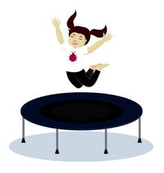 Girl on trampoline vector
