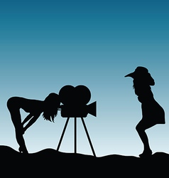 Girls silhouette in nature with camera vector