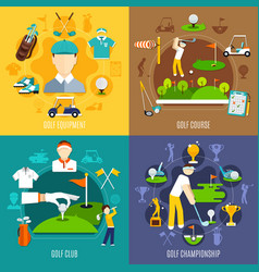 golf game flat design concept vector image