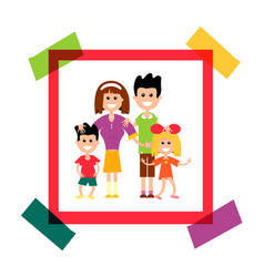 Happy family in paper frame photo vector
