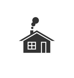 home icon house with smoke going from chimney vector image