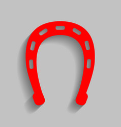 Horseshoe sign red icon with vector