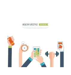 Icons of healthy lifestyle fitness vector