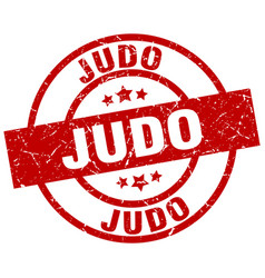 Judo round red grunge stamp vector