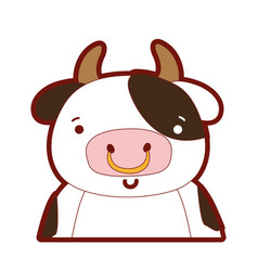 Line color adorable and happy cow wild animal vector