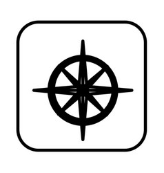 Monochrome contour square with compass icon vector